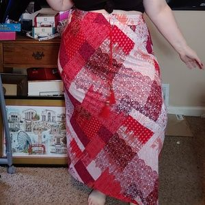 Cato Plus Size pink patchwork pattern skirt